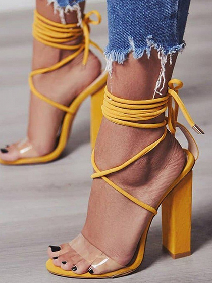 Yellow Lace Up Sheer PU Panel Women Heeled Sandals