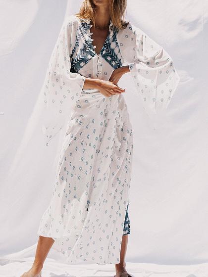 White V-neck Floral Print Flare Sleeve Women Bohemian Maxi Dress