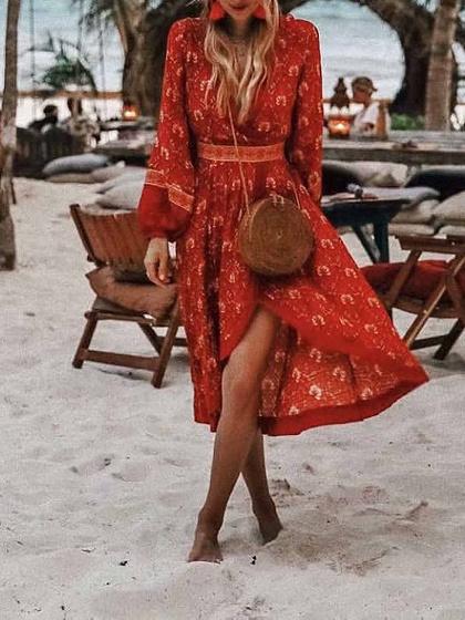 Red Cotton V-neck Floral Print Puff Sleeve Bohemian Hi-Lo Midi Dress
