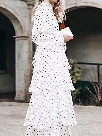 White V-neck Polka Dot Print Ruffle Trim Long Sleeve Maxi Dress