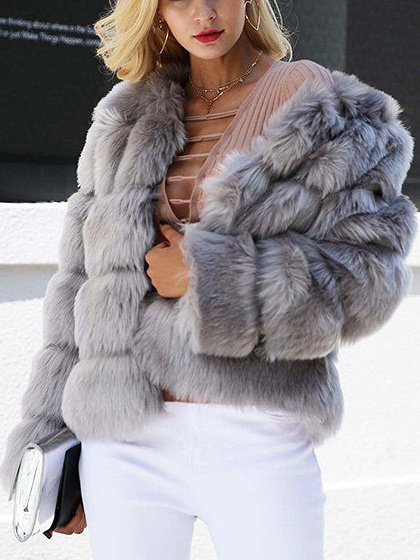 Gray Faux Fur Long Sleeve Chic Women Coat