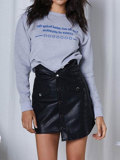 Black PU High Waist Button Placket Front Women Mini Skirt