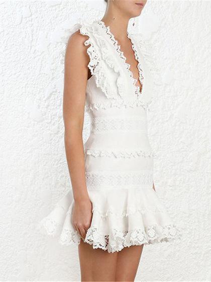 White Plunge Lace Panel Ruffle Trim Sleeveless Women Mini Dress