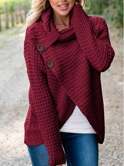 Burgundy High Neck Long Sleeve Chic Frauen Strickpullover
