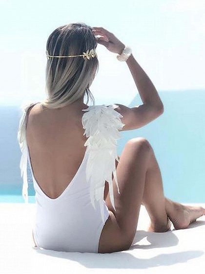 White Angel Wings Panel Open Back One-piece Swimsuit