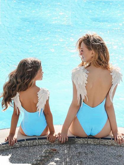 Blue V-neck Angel Wings Kids One-piece Swimsuit