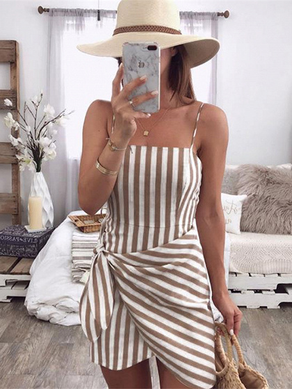 Brown Stripe Tie Waist Women Cami Mini Dress