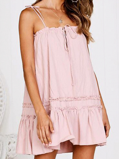 Pink Ruffle Hem Women Cami Mini Dress