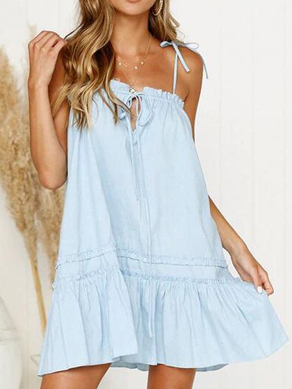 Light Blue Ruffle Hem Women Cami Mini Dress