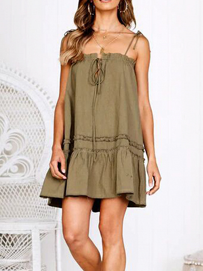 Army Green Ruffle Hem Women Cami Mini Dress