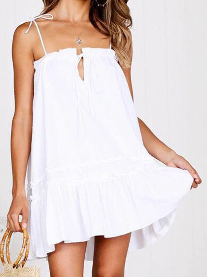 White Ruffle Hem Women Cami Mini Dress