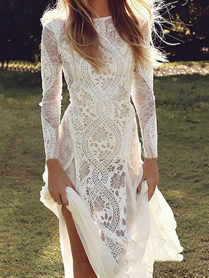 White Chiffon Panel Long Sleeve Women Lace Maxi Dress