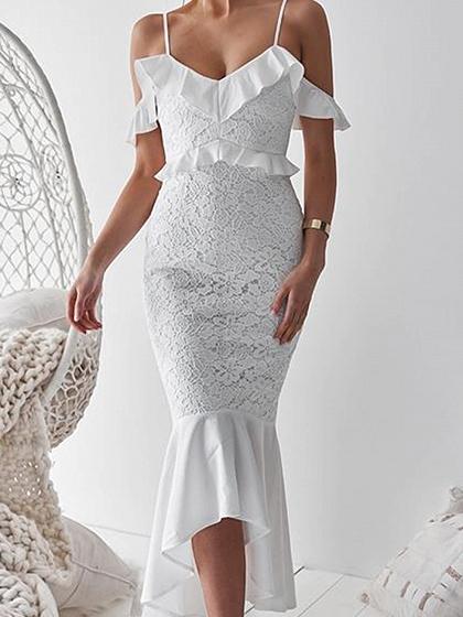 White V-neck Cold Shoulder Ruffle Trim Lace Cami Maxi Dress