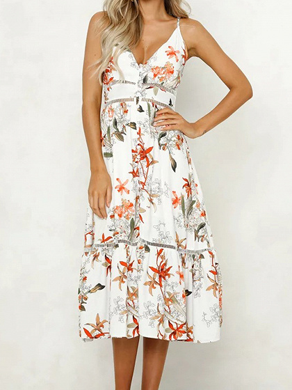 White Plunge Floral Print Ruffle Hem Women Cami Midi Dress
