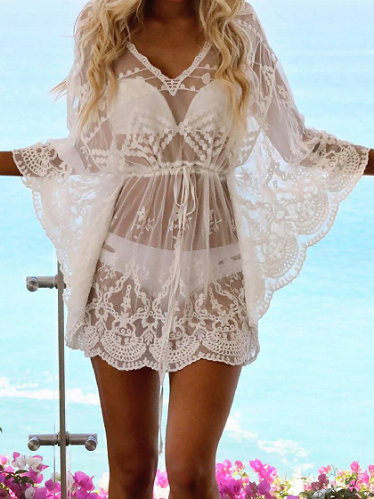 White V-neck Flare Sleeve Women Lace Mini Dress