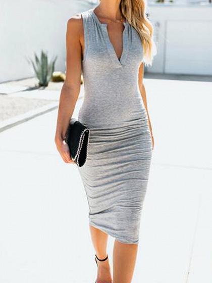 Gray Cotton V-neck Sleeveless Women Bodycon Dress