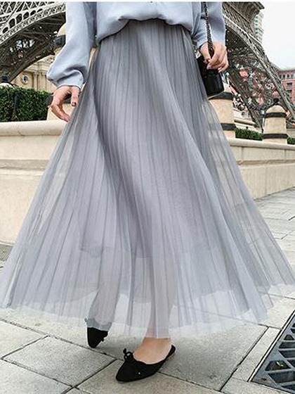 Gray Chiffon High Waist Pleated Detail Maxi Skirt