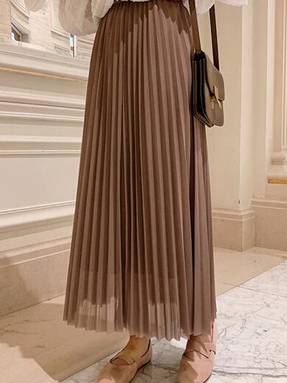 Brown Chiffon High Waist Pleated Detail Maxi Skirt