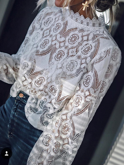 White Stand Collar Puff Sleeve Women Lace Blouse