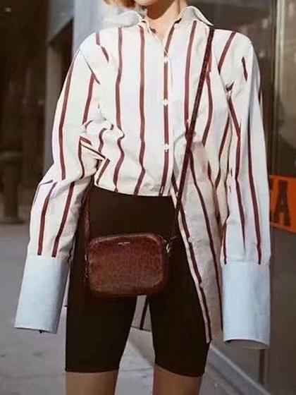 Chemise à manches longues à rayures rouges pour femmes