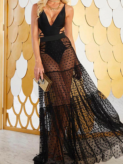 Black High Waist Polka Dot Print Sheer Mesh Maxi Skirt