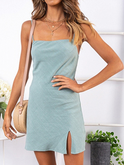 Light Blue Split Side Open Back Women Cami Mini Dress