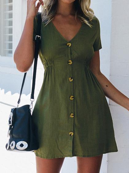 Green V-neck Button Placket Front Mini Dress