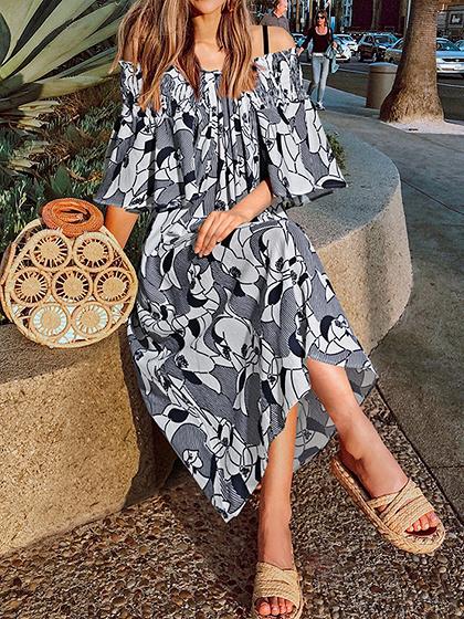 Blue V-neck Stripe And Floral Print Ruffle Sleeve Midi Dress