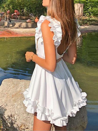 White Ruffle Trim Open Back Sleeveless Mini Dress
