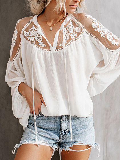 White V-neck Sheer Panel Puff Sleeve Women Blouse