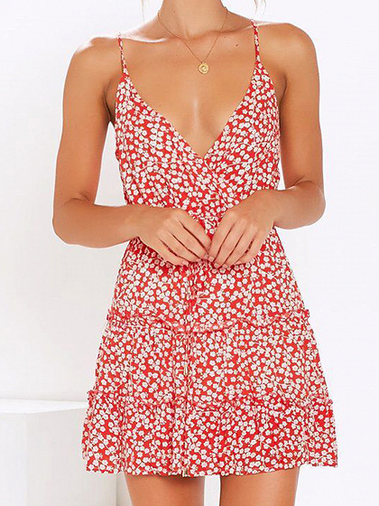Red Plunge Floral Print Frill Trim Cami Mini Dress
