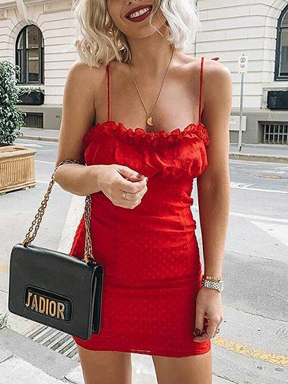 Red Frill Trim Open Back Bodycon Cami Mini Dress