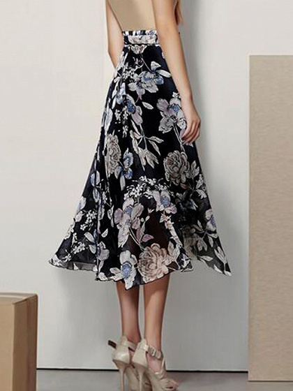 Black Chiffon High Waist Floral Print Midi Skirt