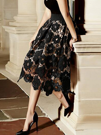 Black High Waist Lace Midi Skirt