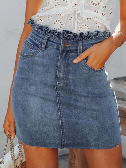 Blue High Waist Frill Trim Denim Mini Skirt