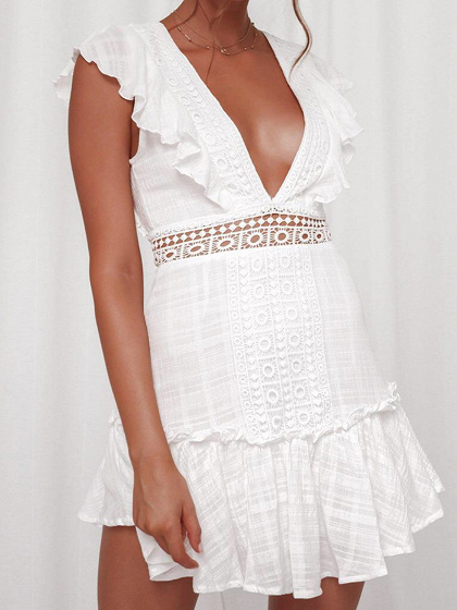 White Plunge Ruffle Trim Open Back Mini Dress