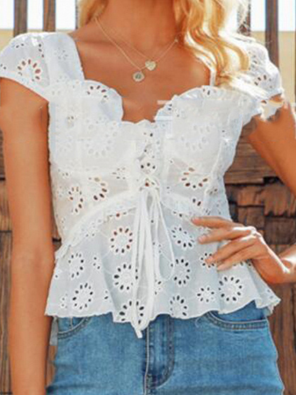 White V-neck Lace Up Front Ruffle Hem Crop Top
