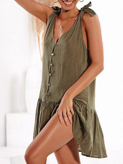 Green V-neck Button Placket Front Ruffle Hem Cami Mini Dress