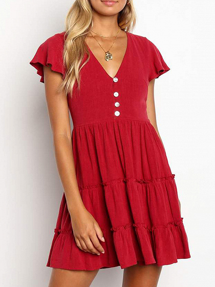 Red V-neck Button Placket Front Ruffle Sleeve Mini Dress