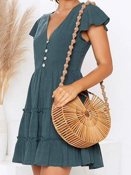 Green V-neck Button Placket Front Ruffle Sleeve Mini Dress