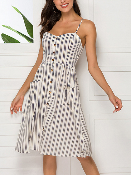 Black Stripe Button Placket Front Pocket Detail Cami Dress