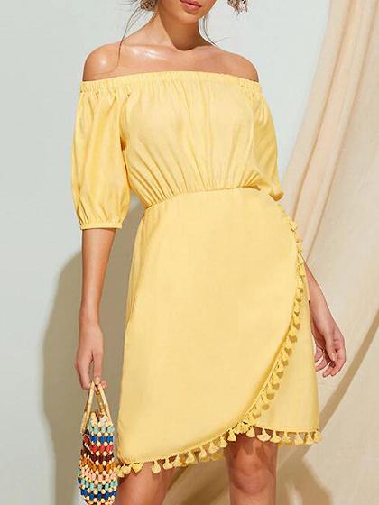 Yellow Off Shoulder Tassel Trim Puff Sleeve Mini Dress