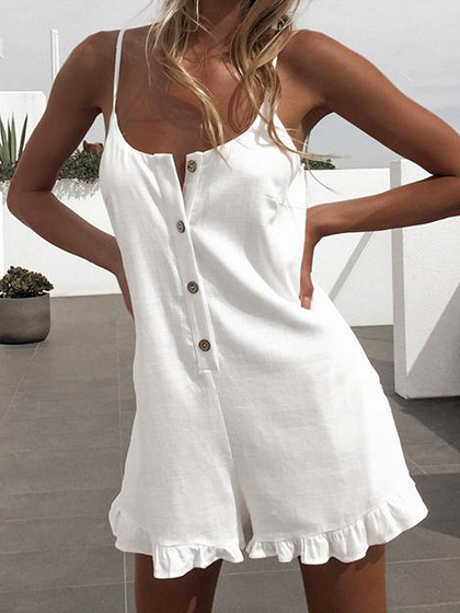 White Spaghetti Strap Button Placket Front Ruffle Hem Playsuit