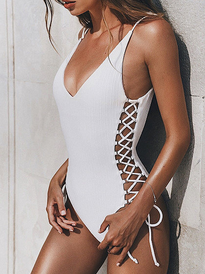 White V-neck Lace Up Side Open Back One-Piece Swimsuit