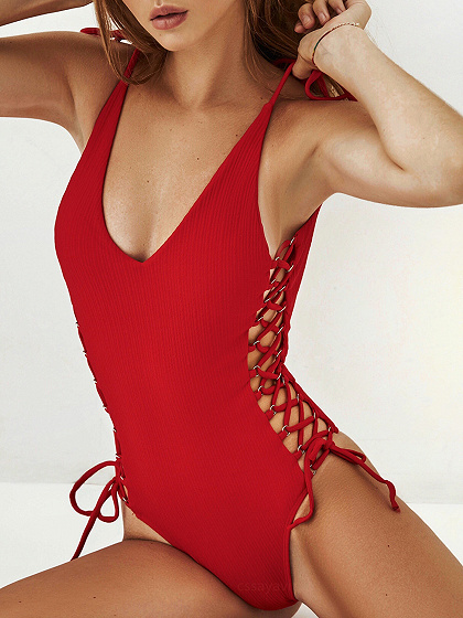 Red V-neck Lace Up Side Open Back One-Piece Swimsuit