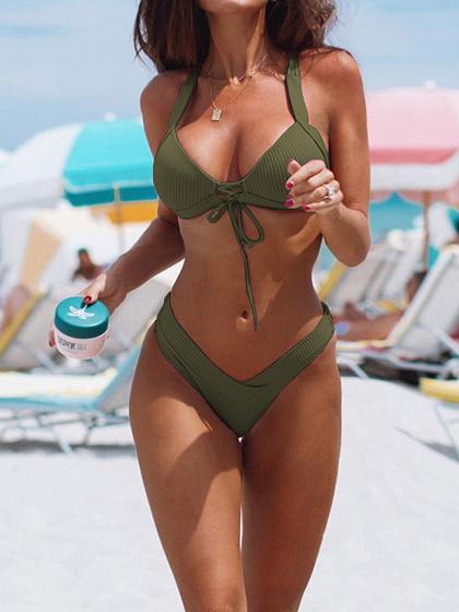 Green Halter Bikini Top And High Waist Bottom