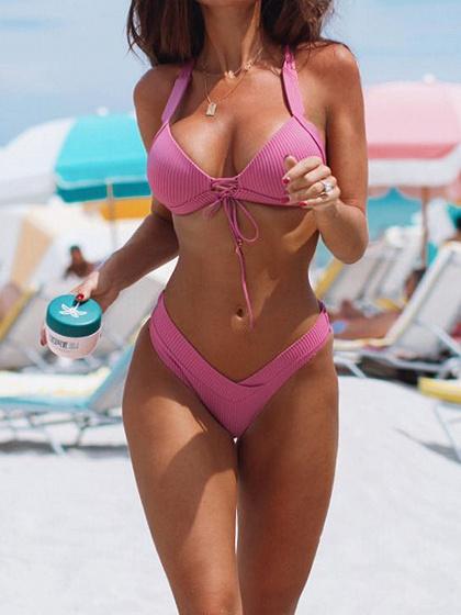 Pink Halter Bikini Top And High Waist Bottom