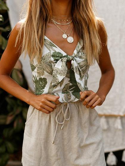 White V-neck Leaf Print Tie Front Ruffle Trim Cami Top