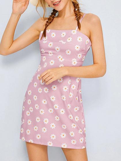 Purple Daisy Print Cami Mini Dress
