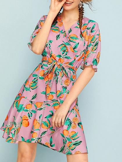 Purple V-neck Orange Print Ruffle Hem Puff Sleeve Mini Dress